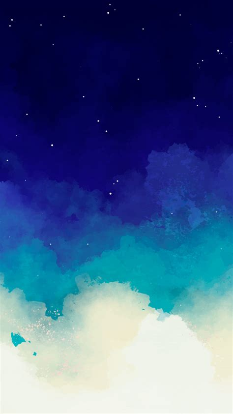 Blue watercolor starry sky background | Free Vector