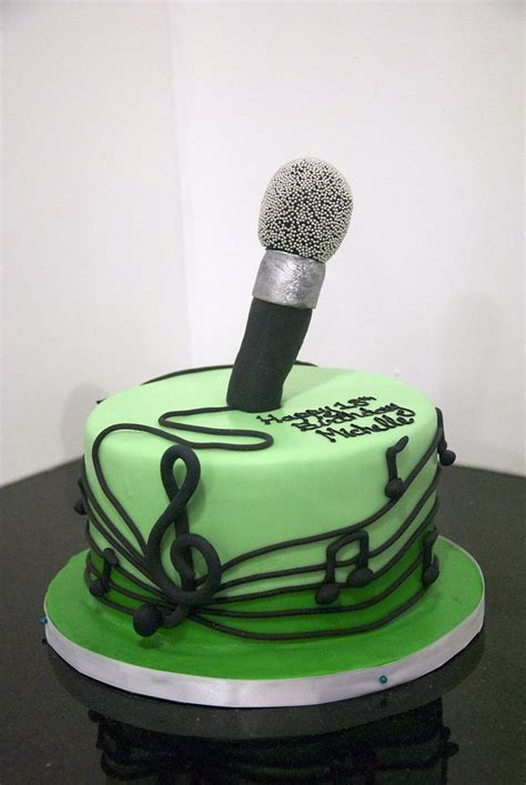 microphone cake   Edible music notes surround this 2 tone